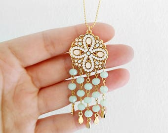 Flower pendant necklace, boho necklace, chandelier necklace, summer necklace, mint necklace, gold necklace, long bohemian necklace, pink