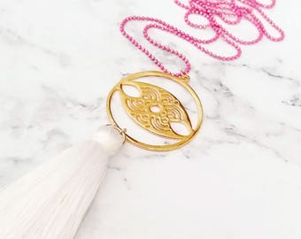 Silk Tassel Necklace, Evil eye necklace, Gold necklace, Long Everyday necklace, Boho necklace, White and Pink, Everyday necklace, Summer