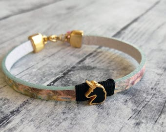 Unicorn bracelet, Colorful bracelet, Leather bracelet, Charm bracelet, Enamel bracelet, Gold bracelet, Fantasy, Cute, Trendy, Gift for her