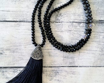 Silk Tassel Necklace, Beaded necklace, Gemstone necklace, Long labradorite crystal necklace, Rhinestone micropave tassel, Statement necklace