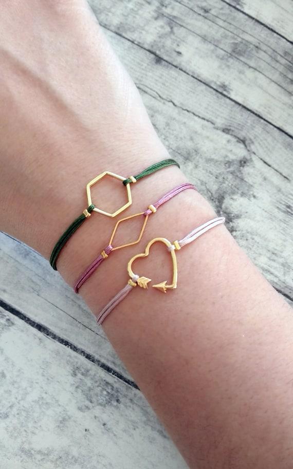 Minimalist bracelet Raw quartz bracelet Pull tie bracelet Amazonite bracelet Hexagon Bracelet Geometric bracelet Dainty bracelet