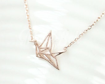 Rose gold origami crane necklace, Origami jewelry, Crane jewelry, Crane necklace, Bird necklace, Woodland necklace, Christmas gift necklace,