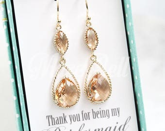 Peach long earrings, Champagne gold earrings, Drop dangle earrings, Maid of honor earrings, Bridal earrings, Peach wedding earrings