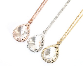 Clear crystal necklace, Bridesmaid gift, Bridesmaid necklace, Wedding jewelry, Bridal necklace, Rose gold necklace, Maid of honor gift