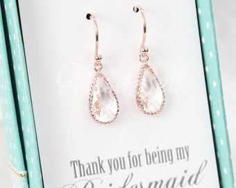 Rose gold clear teardrop earrings, Rose gold earrings, Rose gold bridal earrings, Wedding rose gold earrings, Rose gold jewelry