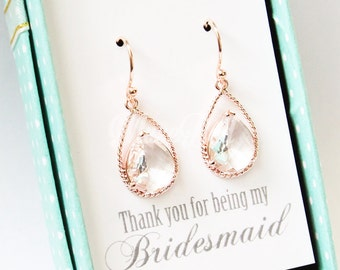 Rose gold clear earrings, Rose gold earrings, Maid of honor gift, Rose gold bridal earrings, Wedding rose gold earrings, Rose gold jewelry