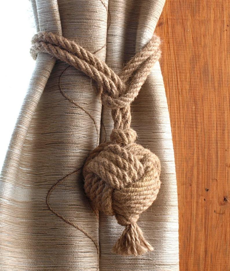- nautical monkey fist knot tie backs Nautical rope curtain tie backs 2 pairs nautical nursery window treatments Active Photos