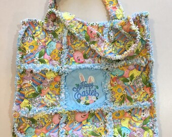 Yellow Embroidered Easter Rag Quilt Bag