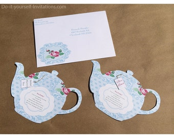 Do it yourself printable invitations and by doityourselfinvites printable tea party invitation bridal tea party invitation tea pot invitation template victorian blue polka dot floral instant download solutioingenieria Choice Image