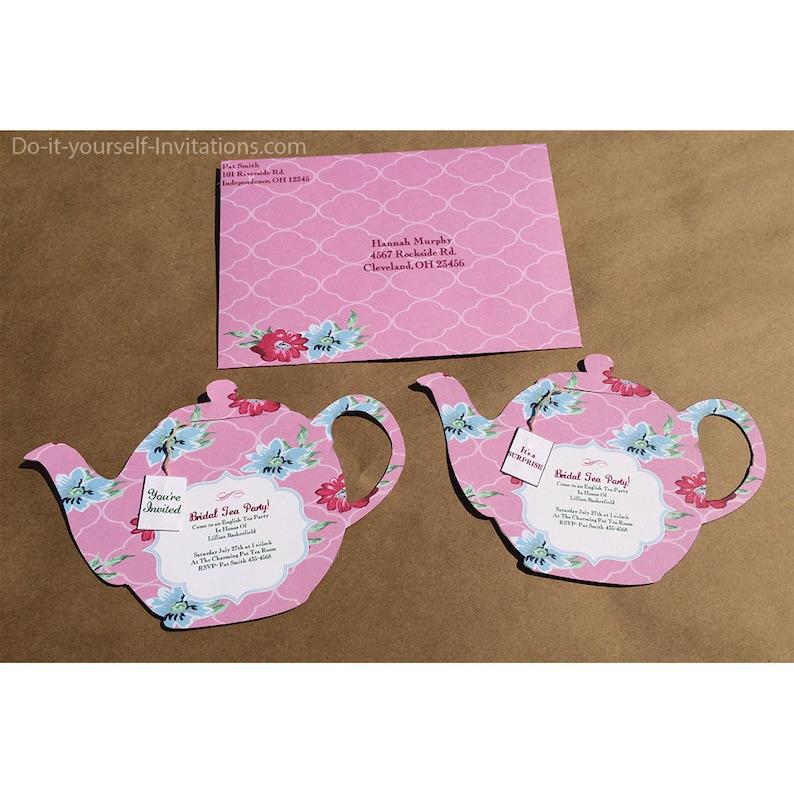 Printable Tea Party Invitation Bridal Pot Template Victorian Pink Floral INSTANT DOWNLOAD