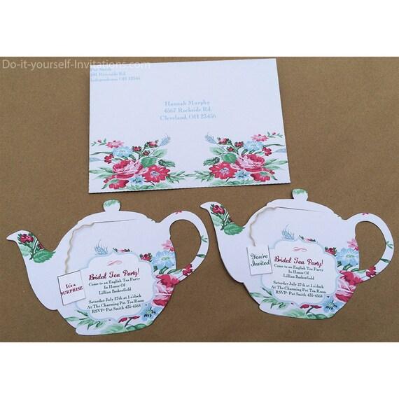 Printable Tea Party Invitation Bridal Pot Template Victorian Pale Gray Floral INSTANT DOWNLOAD