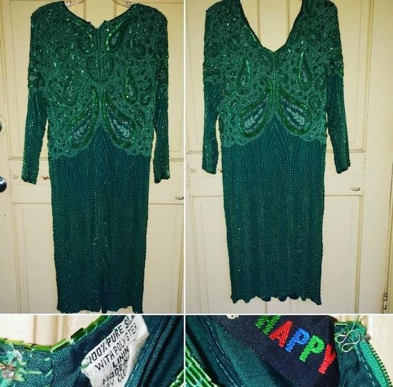 Vintage Emerald Green Sequined Dress