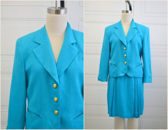 1980s Blazer and Skirt Set, Vintage Dior 1980s Aqu