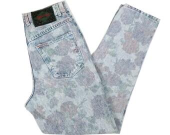 Vintage 90s Floral Print Jeans Size 28 x 30