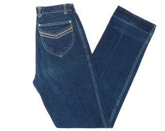 5fdbb0c3facb Vintage 70s High Waisted Straight Leg Blue Denim Jeans Size 25 x 33