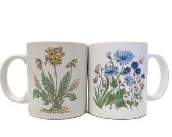 Vintage Botanical Print Coffee Mugs Set Of 2