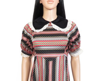 Vintage 60s Lace Collar Polka Dot Babydoll Lolita Girly Mini Dress Size S