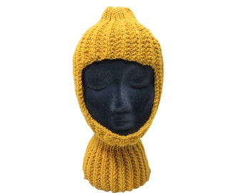 Vintage Mustard Yellow Knit Full Coverage Cap