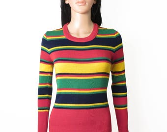Vintage 70s Rainbow Primary Color Striped Sweater Size S/XS