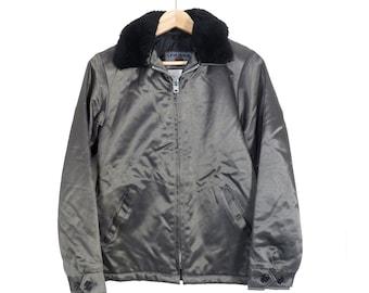5b0b2f83f0cf Vintage 90s Olive Green Shiny Nylon Insulated Bomber Jacket Size S