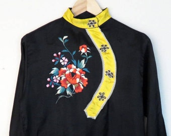 Vintage Chinese Embroidered Satin Blouse Size M 01f6138c0