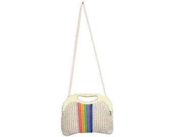 Vintage 70s Woven Rainbow Purse