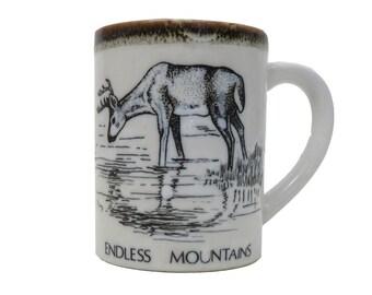 Vintage Deer Print Coffee Mug