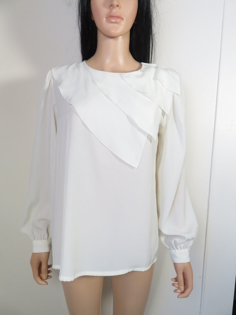 Vintage 80s90s Ivory Lightweight Tiered Collar Blouse Size 12 L