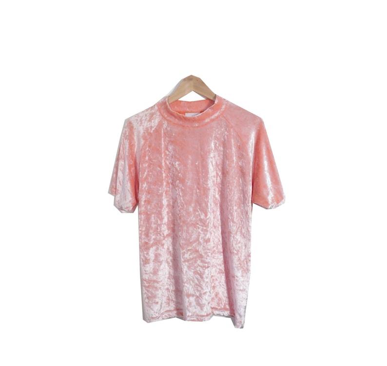 994c02d4b8 Vintage 90s Peach Crushed Velvet Mock Neck Short Sleeve Top | Etsy