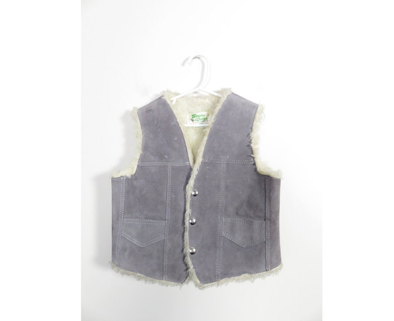 Vintage 70s Kids Grey Suede Leather Faux Fur Lined Vest Size 12