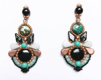 Petals earrings vintage art deco style black onyx, turquoise and amazonite