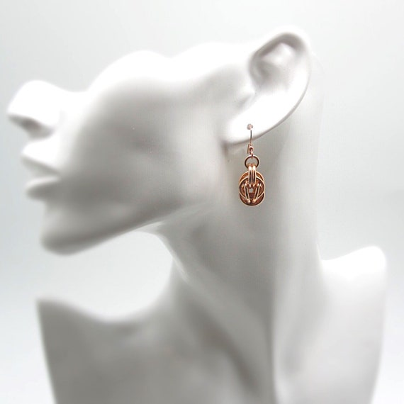 Rose Gold Anodized Aluminium Sweet Pea Chainmaille Earrings Etsy