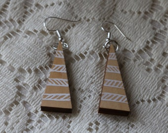 Triangle Hand Painted Wooden Earrings - Natural wood with White Painted Pattern - Jewelry