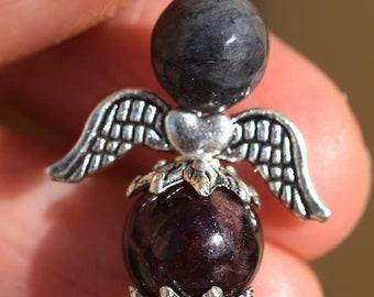 Angel of larvikite and Garnet pendant
