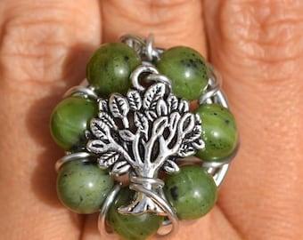 Jade tree of life ring