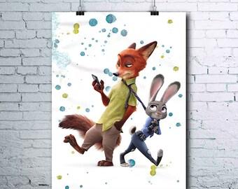 Zootopia - Disney - Judy Hopps - Nick Wilde - Zootopia Print - Zootopia Poster - Zootopia Printables - Zootopia Wall Art - Zootopia Posters