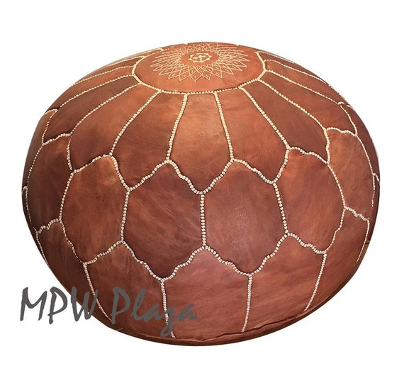 Moroccan Leather Pouf Ottoman Jumbo Arch Embroidery Etsy Magnificent Embroidered Leather Pouf