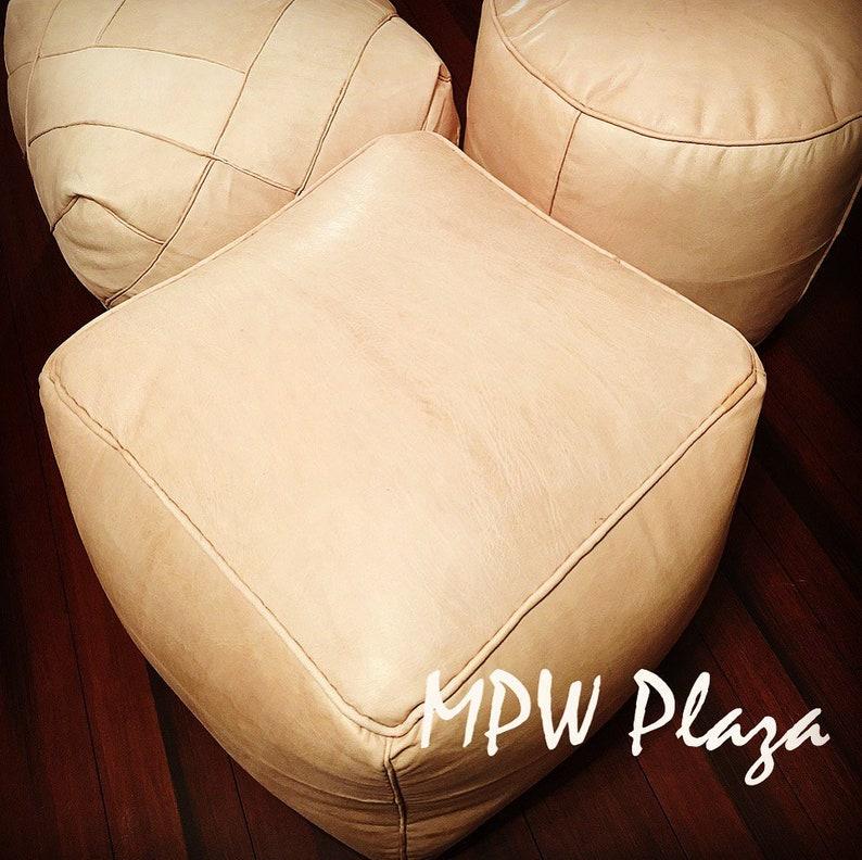 Moroccan Pouf 15\u201d x 18\u201d Square Ottoman choice stuffed or unstuffed Square Pouf by MPW Plaza