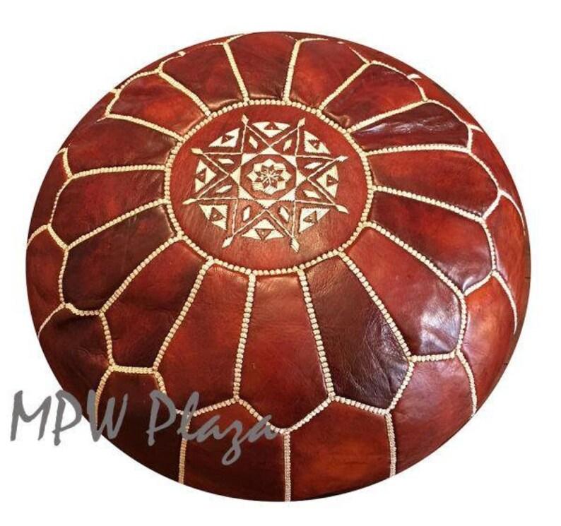 Moroccan Leather Pouf Ottoman 14h x 20w Moroccan Pouf by MPW Plaza choice Stuffed or Unstuffed