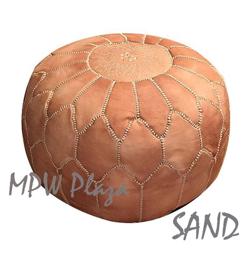 Arch Shell Pouf by MPW Plaza 14 x 20 and 17 x 27 Moroccan Leather Pouf Ottoman choice Stuffed or Unstuffed