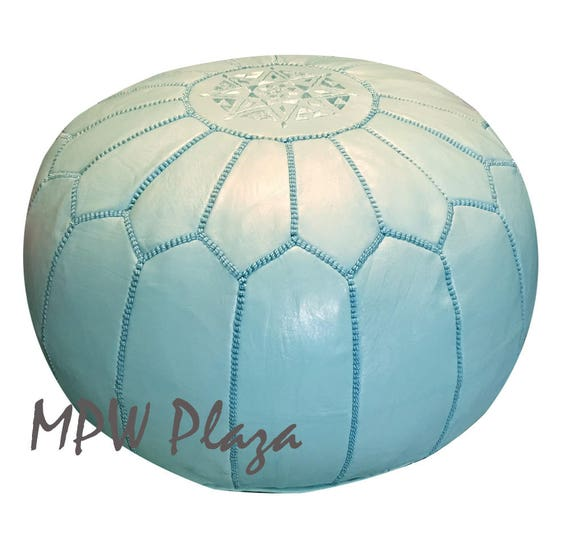 Light Turquoise Moroccan Leather Pouf Ottoman Etsy Awesome Turquoise Moroccan Pouf