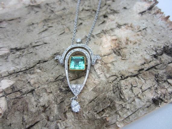 Edwardian Emerald and Diamond Pendant, Edwardian J