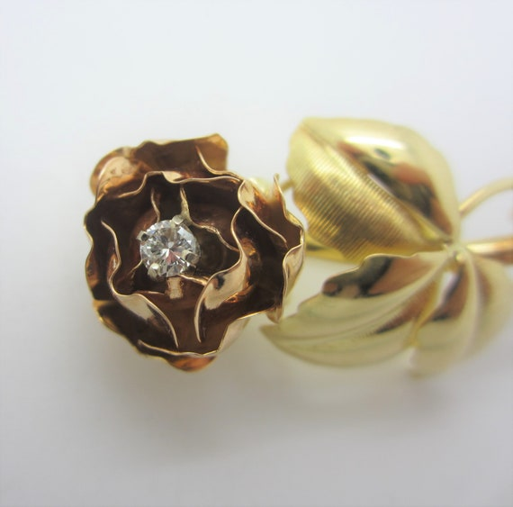 18k Gold Rose Pin, Yellow and Rose Gold Brooch, D… - image 5