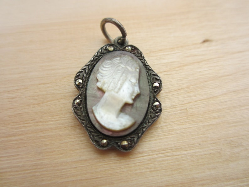 Silver shell cameo charm stamp 800 silver European silver image 0