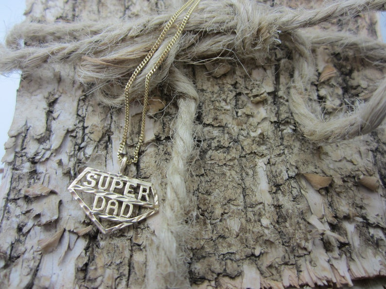 10k Yellow Gold Super Dad Charm Dad Jewellery image 0
