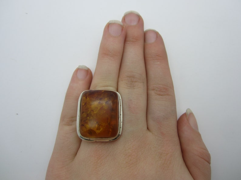 Light Yellow Amber Stone Jewellery Vintage Amber Silver Ring Silver Amber Square Statement Ring