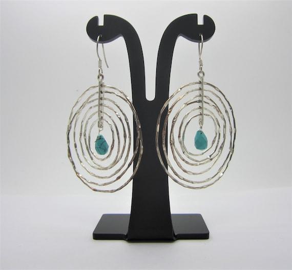 Sterling Silver Hoop Earrings, Blue/Green Stone Ea