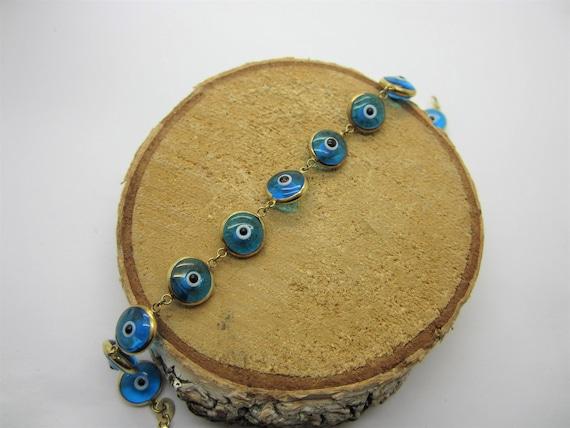 14K Yellow Gold Evil Eye Bracelet, Blue Evil eye