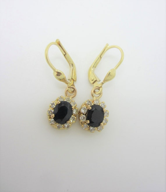 10k Gold Diamond Sapphire Drop Earrings, September