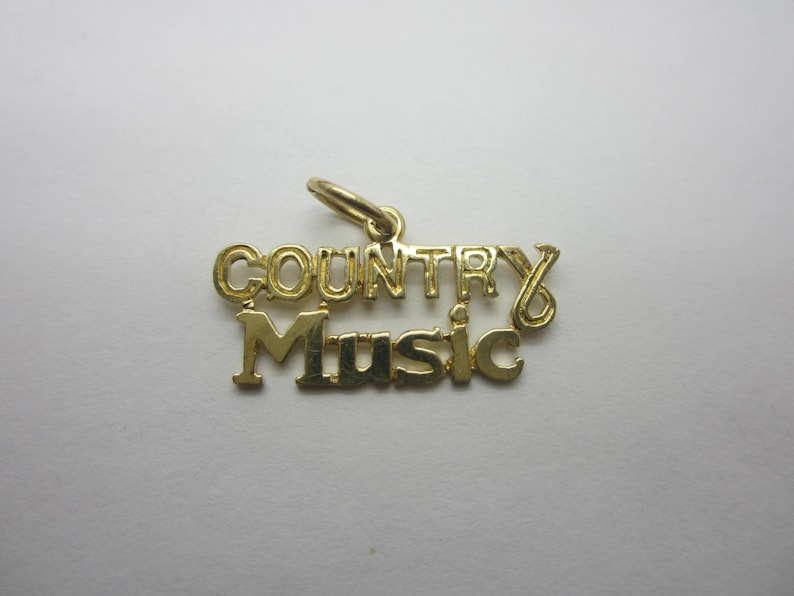 10K Yellow Gold Country Music Charm Music lover charm image 0